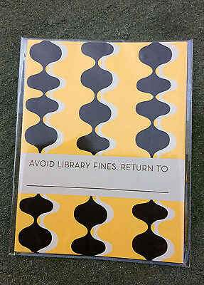 """Deco Bookplate Ex Libris """"Avoid Library Fines. Return To..."""" NWT Yellow & Black"""