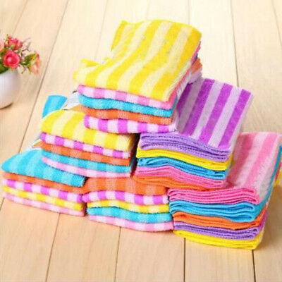 5x Kitchen Dining Striped Wash Towel Absorbent Square Microfiber Dishcloth Vogue