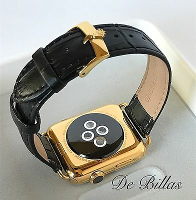 BAND ONLY 20mm Leather Band 24K Gold ROLEX buckle For 42MM Apple Watch