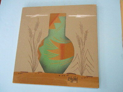 """Vintage Native American  Navajo Sand Art Painting """"large Pottery"""" Signed Etcitty"""