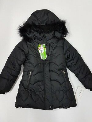 Winter jacket parka coat girl hooded fur lining thick jacket WH165 4 to 7 Black