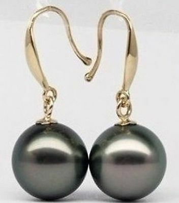 Hot 10-11Mm Perfect Rond Tahitian Black Pearl Earring 14K Solid Gold