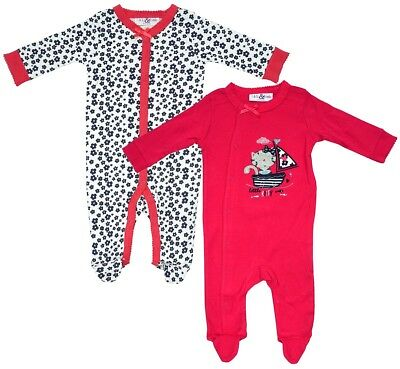 Girls Baby PACK OF 2 Kitty Sailor Sleepsuit Cotton Rompers Newborn to 9 Months