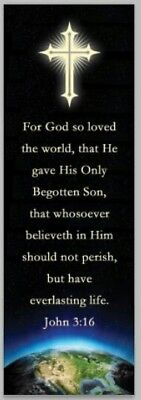 "John 3:16 Bookmark 2""×6"" For God so loved the world Pk of 10 Sunday School VBS"