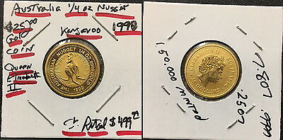 1999 Australia stunning--a flawless1/4 oz GEM BU Gold Nugget--KANGAROO AND QUEEN