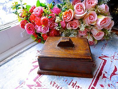 Vintage Oak Wooden Box - Small Old Wooden Box - Old Hard Wood Box With Lid