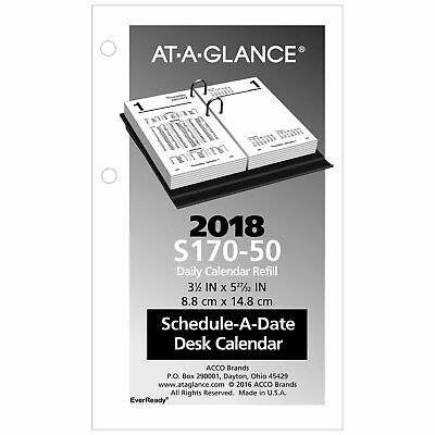 At-A-Glance S170-50 Financial Desk Calendar Refill, 3 1/2 X 6, White, 2018