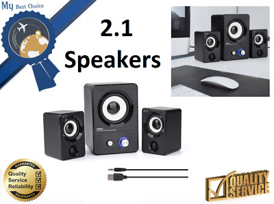 HTRise X7 Black Speakers USB Powered Computer PC System 2.1 Bass Subwoofer NEW