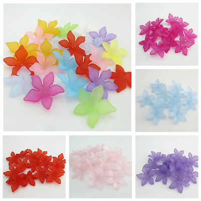 100 pcs Mixed Color Frosted Transparent Acrylic Flower Beads DIY Findings 10x5mm