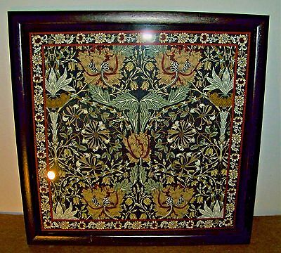 "Vintage Framed Intricate Hand Printed Fabric Panel 17"" x 17 1/2"""