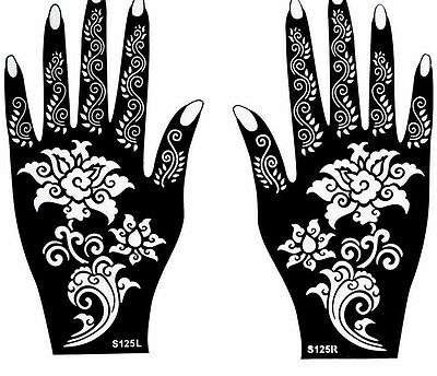 Flower Mehndi Henna Stencils Hands Simple Design Sheets Kit Templates Patterns