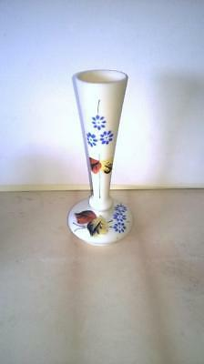 Opaline - Glass Stem Vase - Hand Painted - Victorian - Off Cream - Collectable -