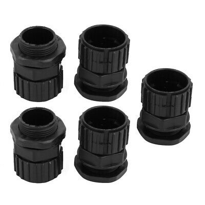 5 Pcs 25mm ID M25x1.5mm Thread Plastic Cable Gland Anti-splashing Black