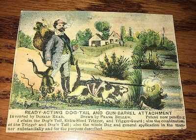 Antique Vintage Trade Card Munn & Co.Patents NY. Dog w/Gun Hunting Frogs Unusual