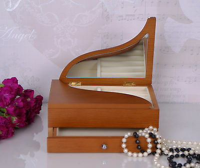 Jewelery box Brown Wooden Jewellery Boxes Piano Shaped Wood Box Drawer & Mirror