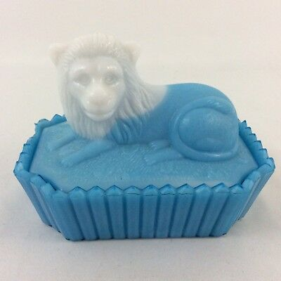 Vintage Blue and White Milk Glass Nesting Lion Covered Dish