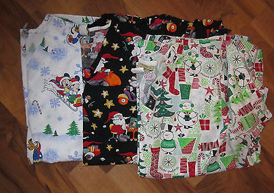 Lot Of 3 Scrub Tops L Large Christmas Disney Mickey Mouse Santa Claus Snowman