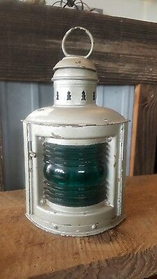 Old Wilcox Crittenden Nautical Lantern ships boat lamp green ribbed glass