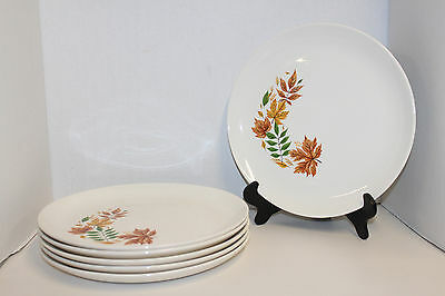 "6 Vintage Autumn Leaves 10"" Dinner Plates By Salem; Brown, Green, Yellow"