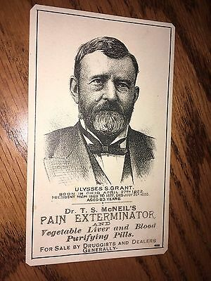 Old Antique Victorian Trade Card McNeil's Pain Exterminator U.S.Grant President