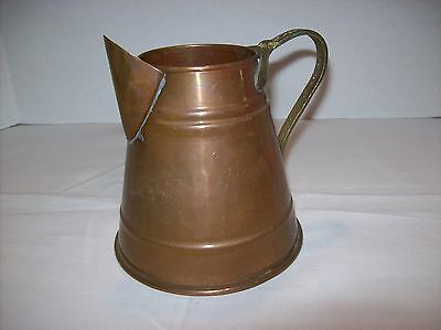 """Vintage Solid Copper & Brass Hammered 5 1/2"""" Pitcher Watering Can Made In Turkey"""