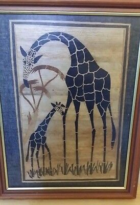 Giraffe and Baby on Papyrus or Wood Fibres Framed Picture