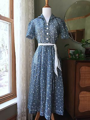 40s Dress Floral Novelty Print 1940s Semi Sheer Vintage 30s Day Dress Tiny Roses