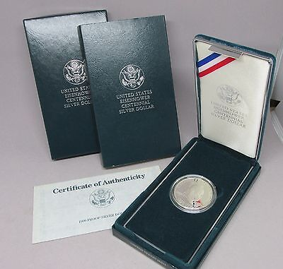 1990 P Eisenhower Ike Commemorative PROOF Silver Dollar w/ Box & COA