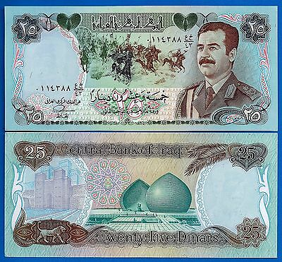 Iraq P-73 25 Dianr Year 1986 Saddam Hussein Uncirculated Banknote