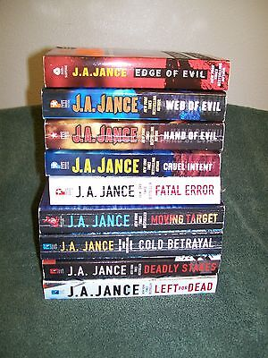 Lot Of 9 J. A. Jance Paperback Books..all Are Ali Reynolds..deadly Stakes