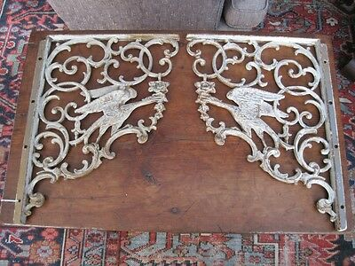 Antique Matched Pair Sand Cast Iron Wall Brackets Supports, Birds & Scrolls
