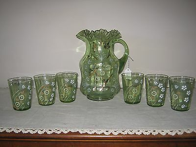 Vintage Pitcher/Glass Set, Hand Painted,Green with Ruffled Edge
