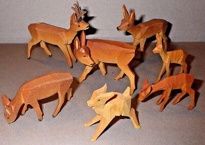 Vintage Carved Wood Deer & Fawn Figurines Nativity Erzgebirge Style Germany