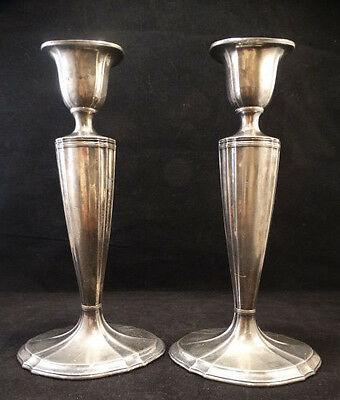 """Antique Pair of 10"""" Jennings Bros.Tall Victorian Silverplate Candlesticks"""