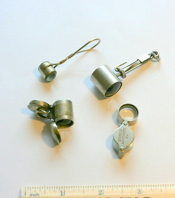 4 X Miniature Pocket Microscope Magnifying Glass All In Good Functioning  Cond.