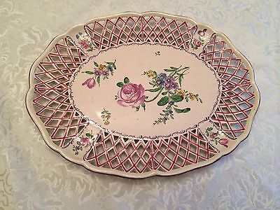 Antique 18th C French Sceaux Faince Reticulated Floral Platter Excellent