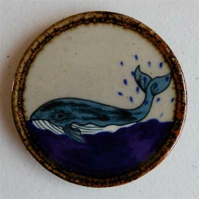 """Whale Swimming"" Drink Coaster or Wall Art Mexican Ceramic Tile, Tonala Art"