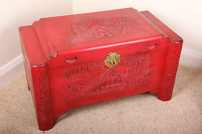 Antique Chinese shabbie chic red painted camphor chest 1930's