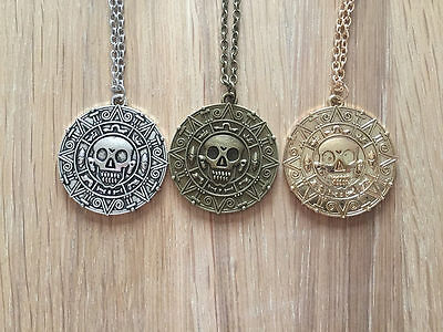 Pirates of the Caribbean Necklace Aztec Coin Skull Charm Medallion Jewellery