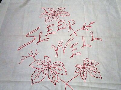 Antique 1900s Linen Red Work Pillow Cover Case Overlay Embroidered