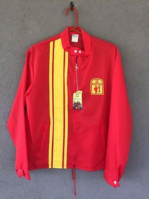 Shell Oil Vintage Gas Station Jacket Windbreaker Racing Stripe Red Yellow L NWT