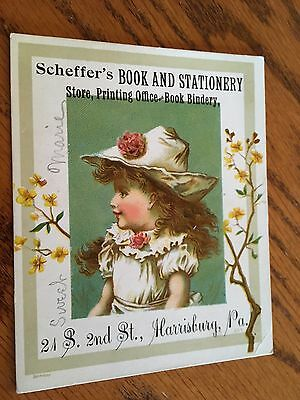 Old Victorian Trade Card Scheffer's Book & Stationery Store Harrisburg PA.