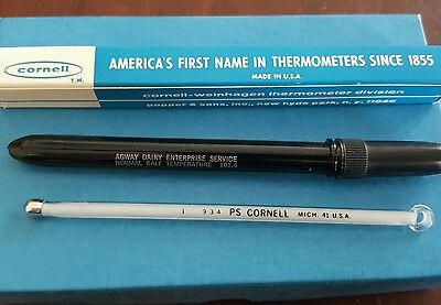 "(12) Cornell 5"" Veterinary Thermometer Dozen Ring top with clip case  New NOS"
