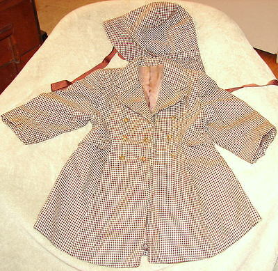 Vtg Authentic1930s Era Child's Coat and Hat Sz 3-4 National Recovery Board Tag