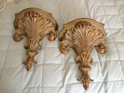 Vintage French Country Fleur De Lis Corbels Pair Gold Shabby Chic
