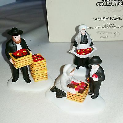 DEPT 56 AMISH FAMILY 3 pc set New England Village Accessory MINT Condition 59480