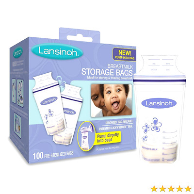 Lansinoh Breastmilk Storage Bags, 100 Count, BPA Free and BPS Free (Packaging M