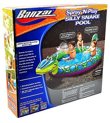 "Banzai Spray 'n Play Silly Snake Pool 86"" X 61"" Ages 2+"