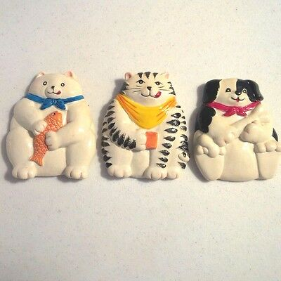 Refrigerator Cats & Dog Magnets: Ceramic Caricature 'Fridge-Appliance Magnet x3