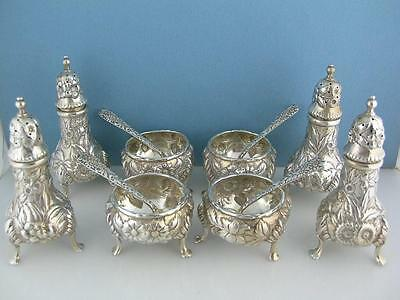 12pc Sterling S KIRK & SON Salt Cellars Dishes Pepper Shakers Spoons REPOUSSE